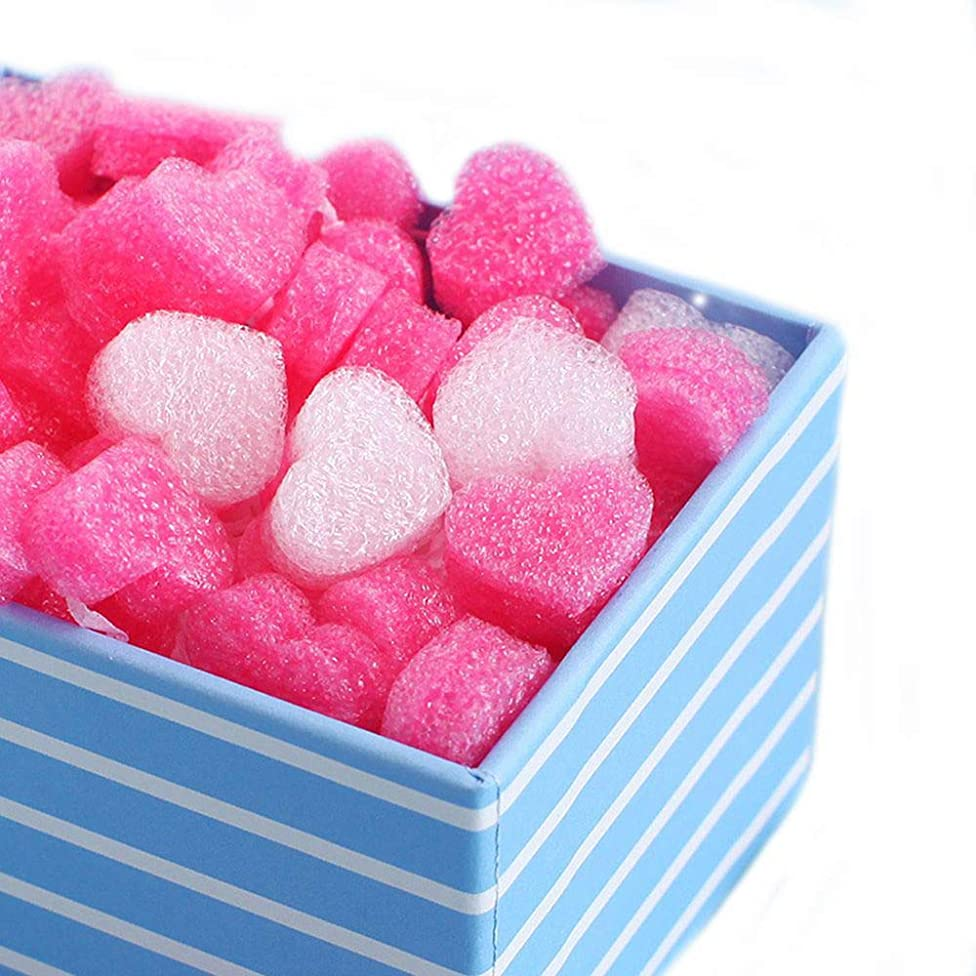 500 Pieces Gift Box Filler Shreds Mini Heart Foam Beads Gift Basket Filler Bedding Pearl Wool Material by EORTA for Crafts DIY Package Packing Decoration Party Wedding Supply, Pink