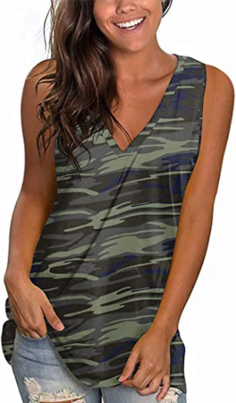 Gerichy Womens Summer Tops, Womens V Neck Tank Tops Casual Loose Summer Sleeveless Blouses Cute Printed T Shirts Tunic