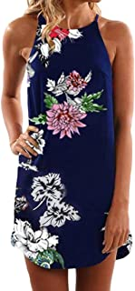 Syban Women Summer Sleeveless Floral Striaght Casual Strappy Print Mini Dress NY/L