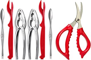 7-piece Seafood Tools Set includes 2 Crab Crackers, 2 Lobster Shellers, 2 Crab Leg Forks/Picks and 1 Seafood Scissors
