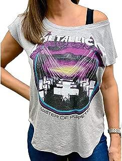 Cyberteez Metallica T-Shirt Master of Puppets Women's Gray Wide Scoop Tee