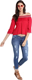 Fusion Beats Women Viscose Red Solid Top