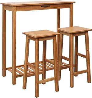 vidaXL Madera Roble Maciza Set Mesa y Sillas de Bar 3 Piezas Muebles Mobiliario Casa Hogar Conjunto Juego Salón Comedor Sala de Estar Asientos