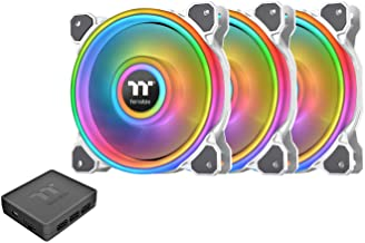 Thermaltake Riing Quad 140mm 16.8 Million RGB Color (Alexa, Razer Chroma) Software Enabled 4 Light Rings 54 Addressable LE...
