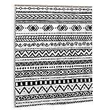 Cortina de baño, patrón étnico Africano Motivos Tribales Aztecas a Rayas en Blanco y Negro Doodle Perú Set de Cortinas de baño con Ganchos