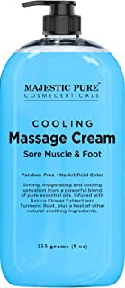 MAJESTIC PURE Cooling Foot and Muscle Massage Cream - for Sore Muscle, Body & Foot, Sports Massage - Advanced Formula with Soothing & Calming Essential Oils - 9 fl oz