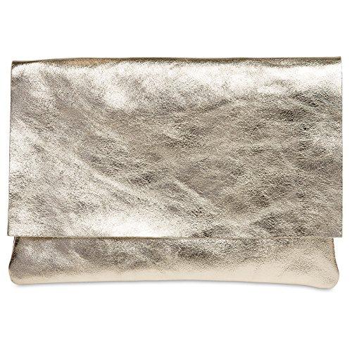 Caspar TL770 große Damen Metallic Leder Clutch Tasche Abendtasche, Farbe:gold, Größe:One Size