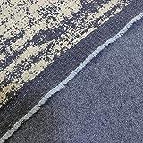 kawenSTOFFE Jeans Denim Stoff Blau beflockt querelastisch