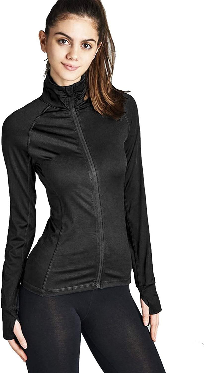 Hollywood Star Fashion Womens Long Sleeve Zip up Athletic wear Sweater Work Out Gym Jacket