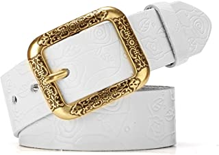 LUKEEXIN Women's Leather Floral Embossed Belt with Prong Buckle (Color : White, Size : 105cm)