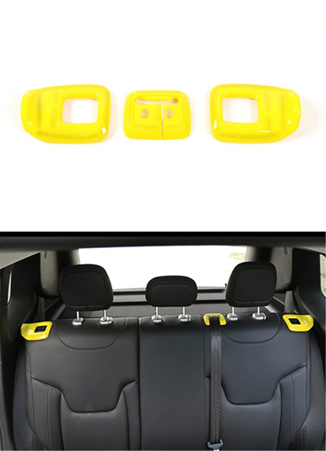 Dwindish Yellow ABS Decoration Rear Seat Adjustment Cover Trim for Jeep Renegade 2015 up