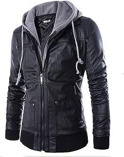 Littleice Men Microfiber Leather Hooded Jacket Autumn&Winter Long Sleeve Biker Motorcycle Zipper Outwear Warm Coat
