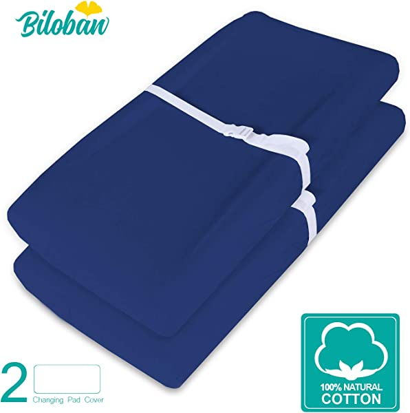 Changing Pad Cover Change Table Cover Sheets 2 Pack Navy Blue Changing Pad Covers Waterproof Ultra Soft Natural Cotton
