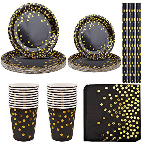 Party Paper Tableware Set, Gold Foiled Polka Dot Disposable Dinnerware Party Supplies for Birthday, Anniversaries, Weddings, Bridal Shower, Engagement,Celebratiom, Halloween