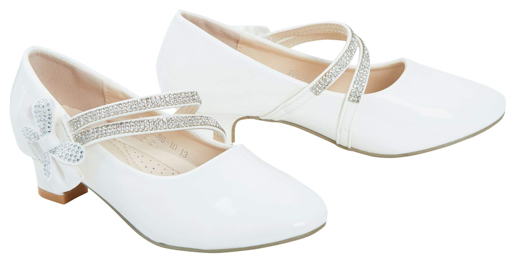 Kids Girls Diamante Patent Embellished Low Mid Heel Party Bridesmaid Shiny Shoes