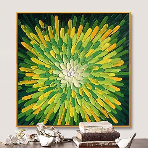 ZHUAIBA 100% Dipinto a Mano Astratto Fiore colorato Pittura a Olio su Tela Wall Art Immagine Senza Cornice Decorazione per Live Room Home Decor (70x70 cm) 28x28 Pollici