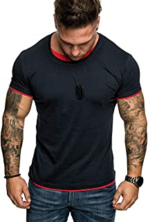Men's Gym Muscle Fitness Simple Short Sleeve,MmNote Cotton Elastic Antibacterial Premium Fitted Cool Quick Quick-Dry T-Shirt