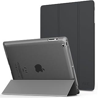 iPad 2/ iPad 3/ iPad 4 ケース - ATiC Apple iPad 2/3/4 第二世代 第三世代 第四世代タブレット用半透明 PC + PUレザー 三つ折スタンドケース Space GRAY…