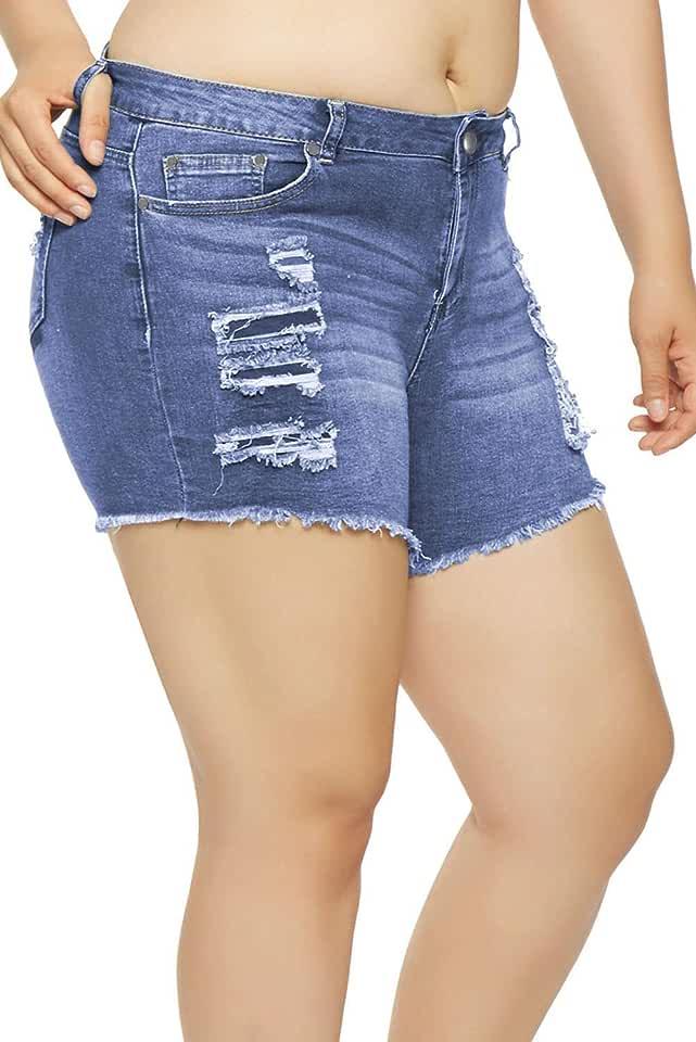 Lucklovell Women Sexy Light Blue Almost Famous Frayed Denim Shorts ((25-26) S, Light Blue)