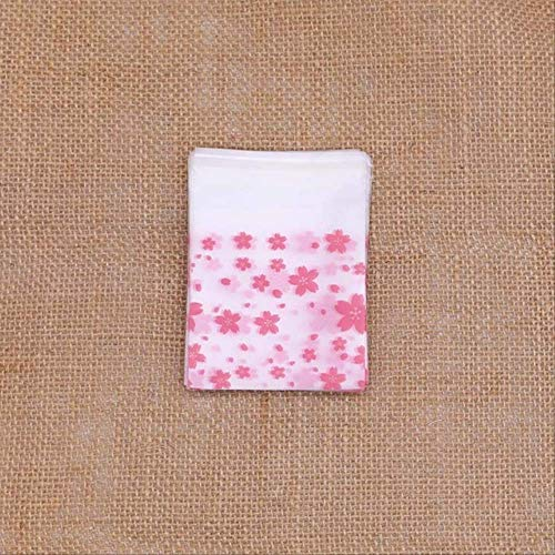 100 Unids 4 Tamaños Bolsas de Plástico Bolso de Galletas y Caramelos de Cereza Rosa Autoadhesivo Para Bolsa de Regalo de Banquete de Boda Bolsa de Embalaje para Hornear Galletas