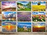 "'20 paesaggi (set 1), set di cartoline ""Primavera e l' estate con 10 diversi á 2 St. = 20 St. per Post Crossing e borsa in penna di Edition Colibri© – Ecologico, da Ecofriendly"