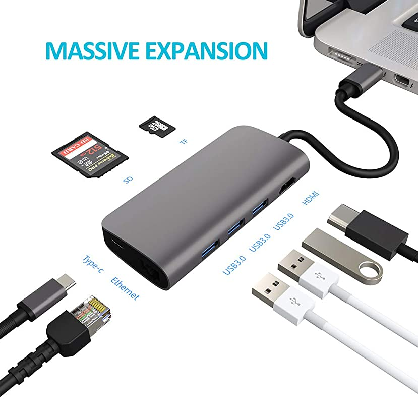 USB C Hub, Mcscants 8 in 1 Multi Port Type C Adapter with Ethernet Port, 4K HDMI Output, 3 USB 3.0 Ports, Type-C Pass Through, SD & TF Card Reader for MacBook Pro, Chromebook and More Type-C Devices