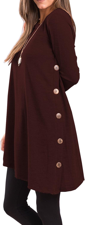iGENJUN Women's Long Sleeve Scoop Button Neck Over item handling Side Tunic overseas Sweater