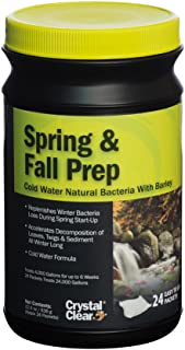 CrystalClear Spring & Fall Prep - Cold Water Natural Bacteria with Barley - 24 Packets Treats Up to 24,000 Gallons