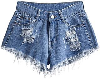 KINGOLDON Womens Waist Slim Sexy Shorts Fashion Pocket Hole Jeans Denim Pants