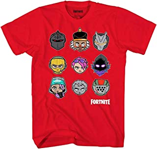 Fortnite Boys Short Sleeve Graphic T-Shirt Chibi Heads Grid Officially Licensed