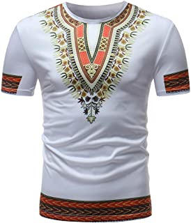 Beautyfine Men's Traditional African Dashikis Print Short Sleeve T-Shirt Slim Fit V Neck Muscle Tee Tops
