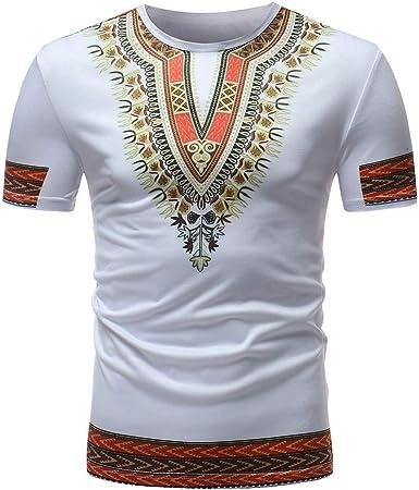 waotier Camiseta De Manga Corta Hombre Ropa con Estampado De Estilo Africano para Hombre Camiseta De Hombre De Verano De Moderno