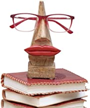 Indya Eyeglass Spectacle Holder Stand Wooden Lips Shaped Handmade Home Déco (Brown)