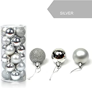 Zcuhen Christmas Ball Ornaments Shatterproof Christmas Ornaments Set Decorations for Xmas Tree Balls Delicate Painting & Glittering - 24ct 30mm Shiny Matte Glitter Hanging Baubles Set Xmas Tree