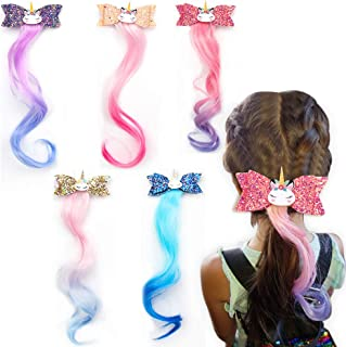 Unicorn Glitter Hair Bows Princess Dress Up Braided Curly Wig Hair Extension for Kids Costume Hair Accessories