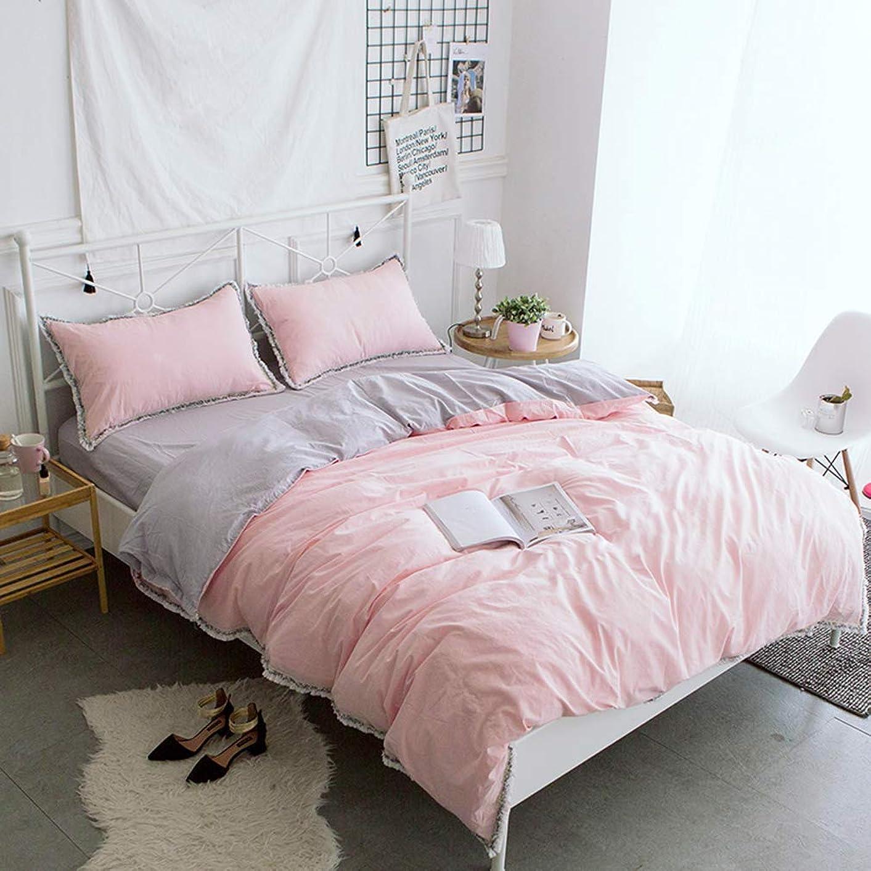 セーブどちらか禁止綿100% 無地 ピンクの掛布団カバーと枕カバー2枚/可愛いフリンジ模様寝具カバー ダブル