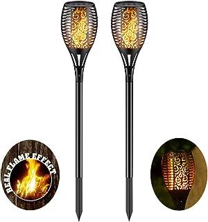 Solar Torch Light with Flickering Flame,Fire Effect Lantern,Dancing Flame,Solar Garden Light, Dust to Dawn,Outdoor Waterproof Garden Decoration, Solar Powered Stick Light ZKEE(Set of 2)
