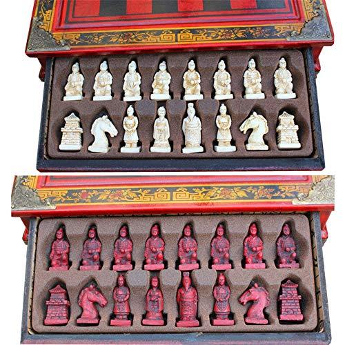 KUQIQI Schach-Set Terra Cotta Warriors International Chess 27 * 27 * 7cm Box Schachbrett Schach-Spiel Chessman, Schach (Farbe : 27x27x7cm)