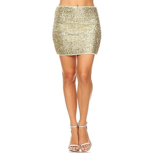 71b5dfdea84ea8 Anna-Kaci Vegas Night Out Sleek & Sexy Stretch Bandage Sequin Mini Pencil  Skirt