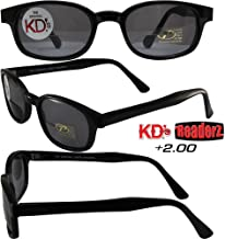 Pacific Coast The Original KD's Biker Shades By PCSUN Black Frames +2.00 Magnification Smoke Lenses, Small