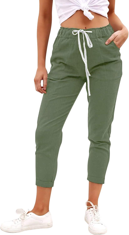 LASLULU Womens Sweatpants Capri Pants Cropped Jogger Lounge Casual Drawstring Sports Athletic Pants with Pockets: Clothing