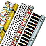 Hallmark All Occasion Reversible Wrapping Paper - Dogs and Cats (3-Pack: 75 sq. ft. ttl) for Birthdays, Baby Showers, Christmas, Valentines Day and More
