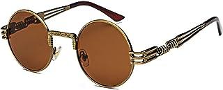 Retro Gafas de sol Gótico Steampunk Vendimia Marco de metal Gafas de sol Redondas Moda Dama hombres Viajar
