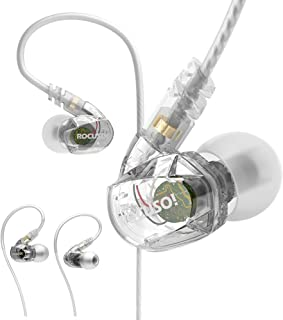 ROCUSO Noise-Isolating Musician's In Ear Monitor, Wired Over Ear Stereo Bass Headphones with Microphone, Waterproof Sport Earbuds for Running, Jogging, Gym, Clear