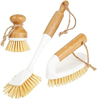mDesign Bamboo Household Cleaning Sink Wet Scrubber Brushes, Stiff Bristles, for Kitchen, Bathroom, Laundry - Combo Includ...