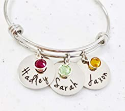 Personalized Bangle Bracelet Birthstone Names Mothers