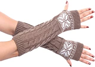 AILIKEE Snowflower Crochet Arm Warmers Knit Gloves Fingerless Thumb Hole Mittens for Women Ladies Students Youth