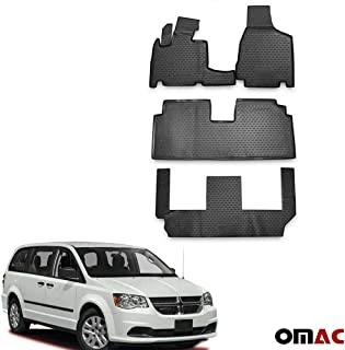 OMAC USA Complete Set Custom Fit All-Weather 3D Molded Black Rubber Floor Mat for Chrysler Town & Country 2008-2016