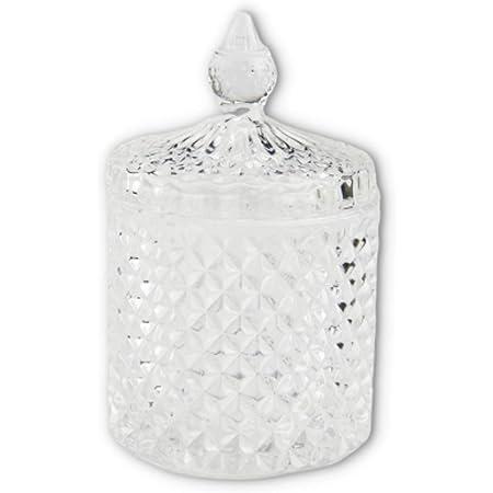 FuliLie ガラス製 小物入れ ガラス容器 蓋 卓上 コットンケース 楊枝入れ 綿棒入れ 砂糖 保存容器 (クリア)
