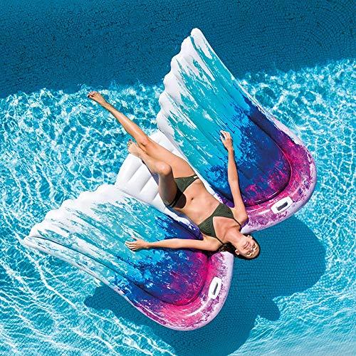 JIA Summer Lady Angel Wings Party Adulto PVC Agua Inflable Juguete Flotante Fila 251CM * 160CM Divertido